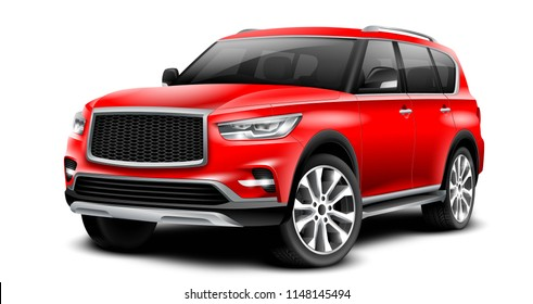 SUV Car. Off Road Red Generic Crossover With Glossy Surface On White Background Perspective View With Isolated Path 3D Illustration