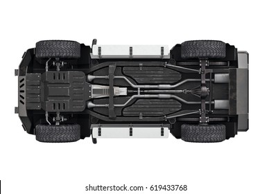 Suv car transport 4wd suspension, bottom view. 3D rendering