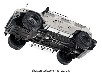Suv car white luxury suspension, bottom view. 3D rendering