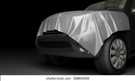 SUV with wrapped hood