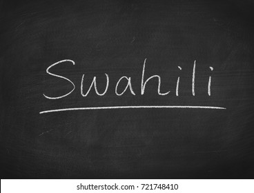 Swahili word on a blackboard background