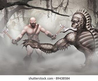 Swamp creatures and barbarian