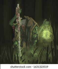 Swamp goblin necromancer illustration, artwork just for fun