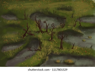 Swamp landscape art