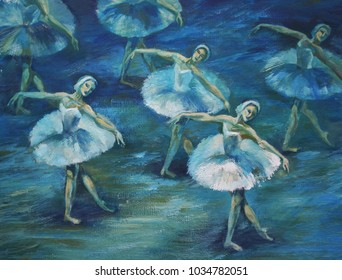 Swan Lake ballet Painting Acrylic and Full spectrum on Cardboard