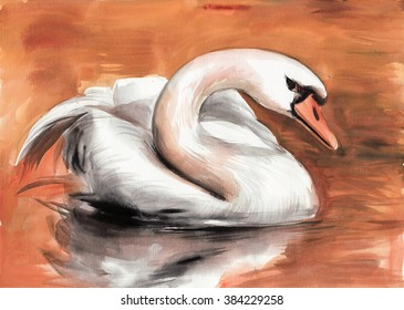 Swan on the water surface original watercolor painting. Hi-res image.