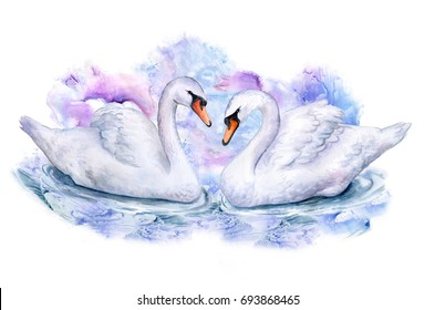 Swans on an abstract colored background. Couple in love Watercolor. Illustration. Handmade