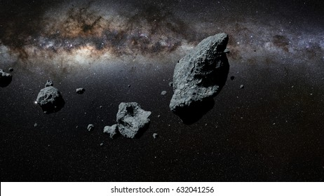 a swarm of asteroids in front of the Milky Way galaxy (3d illustration, elements of this image are furnished by NASA)