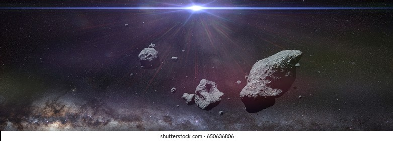 a swarm of asteroids in front of the Milky Way galaxy and the Sun (3d render, elements of this image are furnished by NASA)