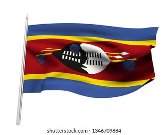 Swaziland flag floating in the wind with a White sky background. 3D illustration.