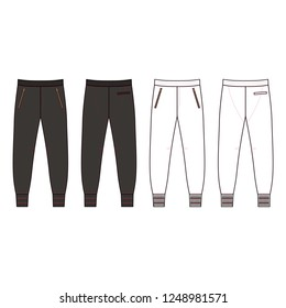 Sweatpants man template (front, back views), illustration isolated on background