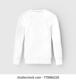 Sweatshirt mockup template, blank white unisex cloth isolated on light gray background, 3d render