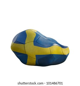 sweden deflated soccer ball isolated on white
