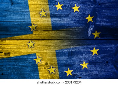 Sweden and European Union Flag painted on old wood plank texture