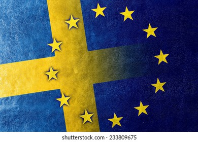 Sweden and European Union Flag painted on leather texture