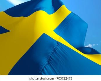 Sweden flag. 3D Waving flag design. Blue and yellow flag. The national symbol of Sweden. Swedish National colors. National sign of Sweden for a background flag on texture