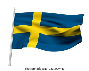 Sweden flag floating in the wind with a White sky background. 3D illustration.