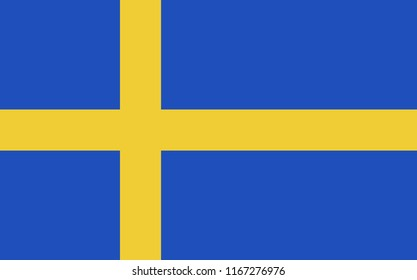 Sweden flag illustration. Blue silhouette with yellow stripes isolated over whte background.
