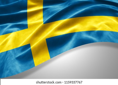 Sweden flag of silk with copyspace for your text or images and white background -3D illustration