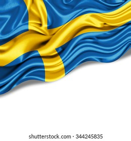 Sweden   flag of silk with copyspace for your text or images and  White background