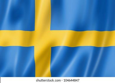 Sweden flag, three dimensional render, satin texture