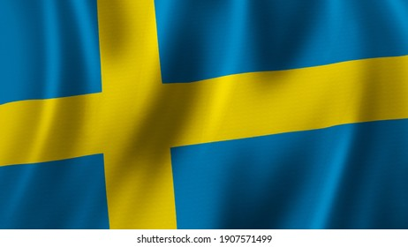 Sweden Flag Waving Closeup 3D Rendering With High Quality Image with Fabric Texture