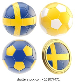 Sweden football team set of four soccer ball attributes isolated on white