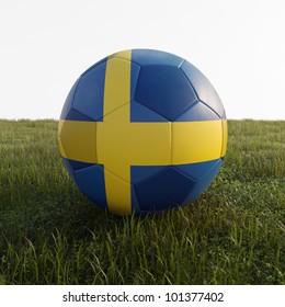 sweden soccer ball isolated on grass