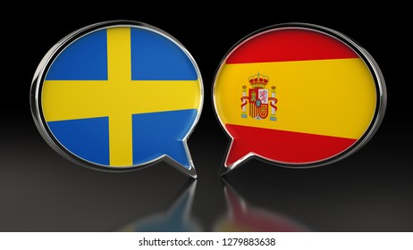 Sweden and Spain flags with Speech Bubbles. 3D illustration