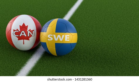 Sweden vs. Canada Soccer Match - Soccer balls in Sweden and Canada national colors on a soccer field. Copy space on the right side - 3D Rendering
