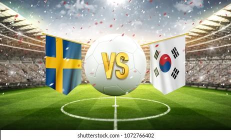Sweden vs South Korea. Soccer concept. White soccer ball with the flag in the stadium, 2018. 3d render