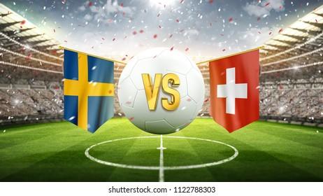 Sweden vs Switzerland. Soccer concept. White soccer ball with the flag in the stadium, 2018. 3d render