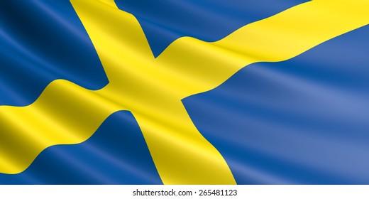 Swedish flag fluttering in wind.