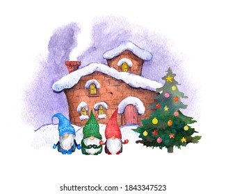 Swedish gnomes in Christmas, holiday decorated pine tree under winter house. Watercolor family of small dwarfs xmas card