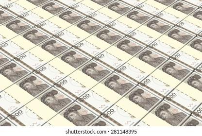Swedish kronor bills stacks background.