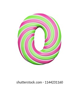 Sweet alphabet number 0. Christmas font made of pink and green spiral striped lollipop. 3D render isolated on white background. Yummy confection from delicious lollypop caramel.