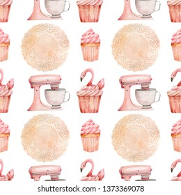 Sweet bakery  pattern mixer, flamingo cupcake  pink baking tools. Watercolor illustration seamless pattern on a white background for packaging design, cafe restaurant web sites