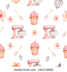 Sweet bakery pattern mixer, spatula, whisk, pink baking tools. Watercolor illustration seamless pattern on a white background for packaging design, cafe restaurant web sites