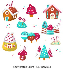 Sweet candy icon set. illustration isolated on white background. Sweets, lollipops, candy canes, sweet houses.
