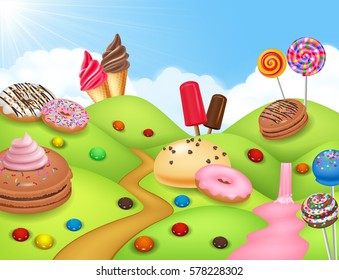 Sweet candyland with cupcake, ice cream, donut, and lollipop