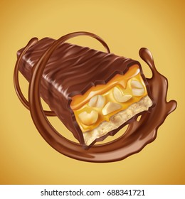 Sweet chocolate bar with nuts and caramel fillings, sauce swirling in 3d illustration