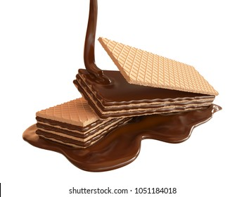 Sweet Chocolate poured on biscuits or Crispy wafer with Clipping path 3d illustration.