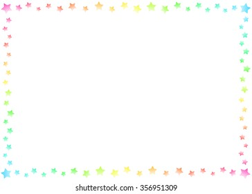 Sweet Color Stars Border and Frame on White Background Wallpaper Illustration