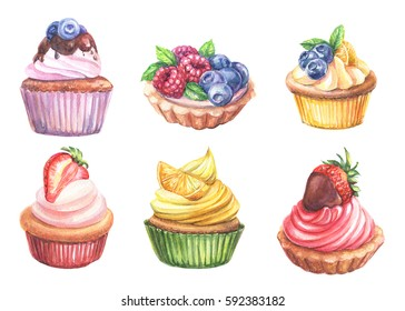 sweet cupcakes with berries, watercolor