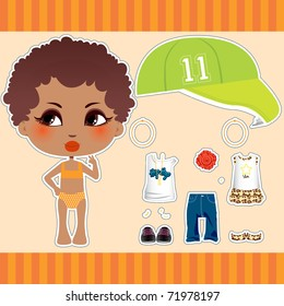 Sweet and cute Afro American fashion girl clothes collection set