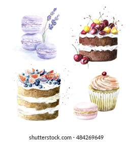 Sweet delicious watercolor set with macaroons, cupcakes, cakes. Hand-drawn illustration