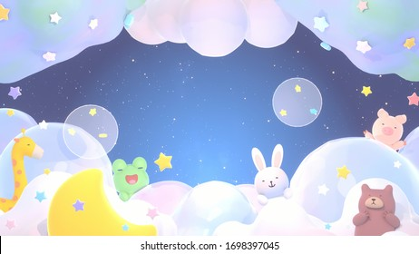 Sweet dream of cute animals. Soft pastel gradient color clouds, stars, bubbles, and yellow crescent moon at night. 3d rendering picture.