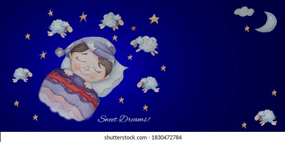 Sweet Dreams. Cute baby sleeping under a blanket. Above him is starry sky, a moon and sleeping sheep. Counts them to fall asleep. Watercolor. Horizontal banner on a blue background with place for text