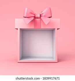 Sweet exhibition booth blank gift box stand with pink pastel color ribbon bow isolated on pink background minimal conceptual 3D rendering