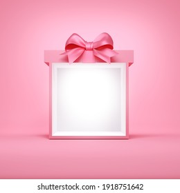 Sweet exhibition booth blank gift box stand with pink pastel color ribbon bow isolated on pink background. 3D rendering